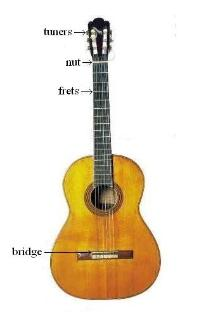 classical guitar with parts labled in fret diagram orientation