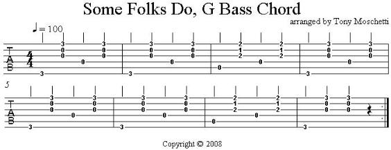 Some Folks Do, bass chord accompaniment tab in G
