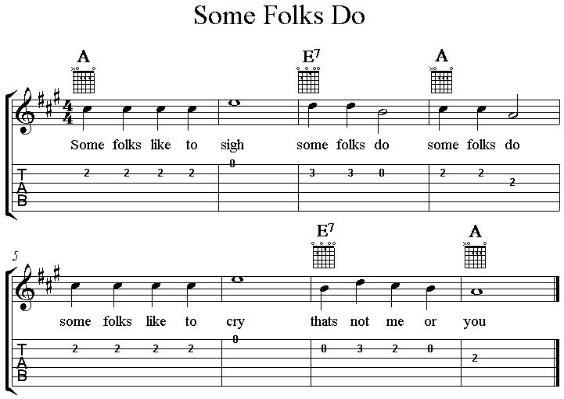 Some Folks Do, guitar vocal lead sheet with tab in A