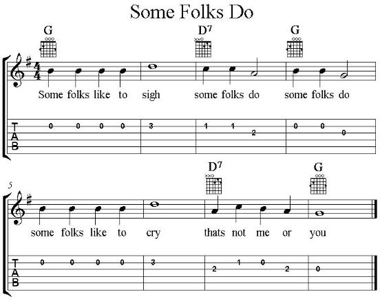 Some folks Do, guitar vocal lead sheet with tab in G