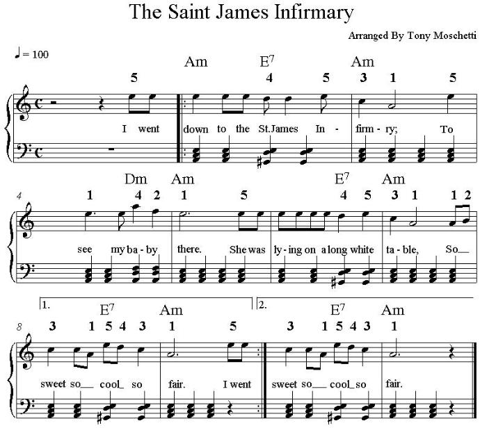 Piano music  for St James Infirmary in the key of A minor