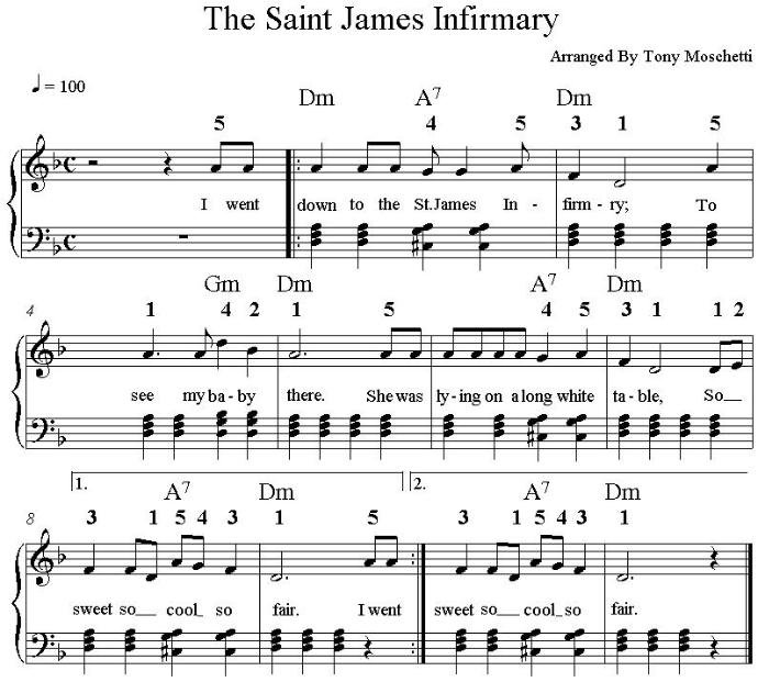 Piano music for St James Infirmary  in the key of D minor