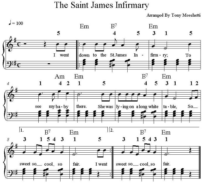 Piano music for St Jame Infirmary in the key of E minor